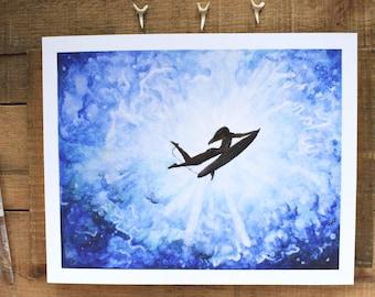 Surfer Silhouette Watercolor, Surf Art, Surfing Painting, Surfboard Watercolor, Ocean Art, Beach Art, Coastal Art, Ocean Painting