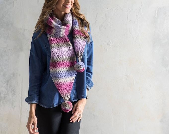 Crochet scarf pattern. crochet pattern, scarf pattern, womens scarf pattern, easy scarf pattern, crochet scarf, pom pom pattern, long scarf