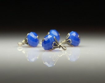 Vintage Style Bead Charm Dangles Blue Glass Set of Four BL226