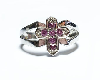 Rhodolite Garnet Ring - sterling silver rhodolite ring - January Birthstone Ring - genuine garnet ring
