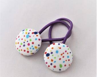 Confetti Dots Sprinkles - Ponytail holders - fabric covered button hair ties