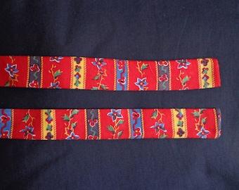 Vintage neck tie red flowers  cotton.