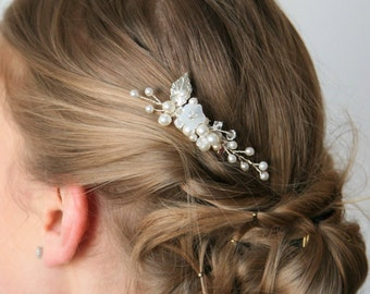 Bridesmaids Hair Piece, Floral Hairpiece,Silver  Bridal Hairpiece, Leaves Haircomb,Wedding Accessory