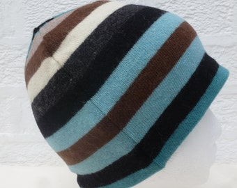 Small beanie hat striped pure wool knitwear soft headcover cashmere accessory warm cosy hat light blue gift eco-friendly beanie winter hat.