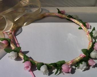Flower Girl Head Wreath Renaissance Bridesmaid Flower Girl Floral Ribbon Crown Halo Head Piece Wreath Garland Pink Ivory Mint C-Arianna