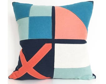 Nautical Flag LOVE Pillow in Coral, Teal, Seafoam and Navy Blue