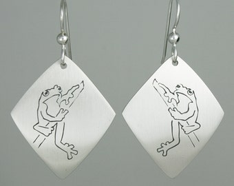 """Calligraphic Tree Frog Earrings, Sterling Silver Diamond-Shaped Discs, 1 3/4"""" long"""