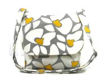 Crossbody Purse, Floral Messenger Bag, Small Cross Body Bag, Messenger Purse, Yellow Gray and White Floral - Premier Prints Helen in Storm