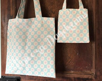 Mummy and Me shopping bags, canvas tote bag, market bag, cotton bag, mommy and me bags