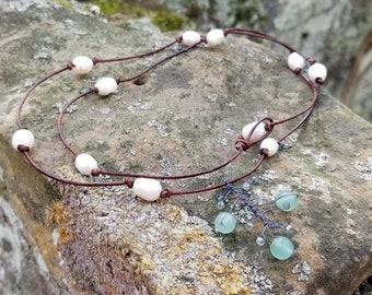 Shades of Lichen Woodland Inspired Necklace Rustic Pearl and Aventurine