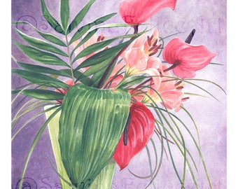 """Print made from my original watercolor painting """"Anturium"""" flowers, red flowers, potted flowers,"""