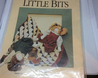 Dream Spinners Little Bits pattern directions bean bag doll and patchwork quilt 1990 vintage