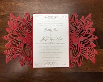 Poinsettia Christmas Laser Cut Wedding Party Invitations Wedding Die Cut Laser Cut Traditional Wedding Invitations Laser Cut