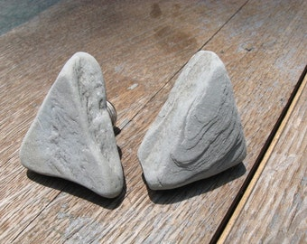 NATURAL Beach Stone Cabinet Knobs GREY ABTRACT Beach Stone Cabinet Knobs