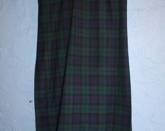 Genuine 1970s Green & Blue tartan wool maxi skirt with side pleats.