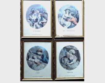 Set of 4 Antique  engraving Portraits. The Four Seasons.