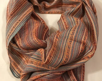 Autumn colours scarf, orange outdoor scarf, striped shawl, winter colours scarf, mens oversized scarf, outdoor shawl, ladies winter scarf