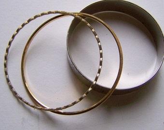 Set of Three Vintage Bangle Bracelets--Trifari