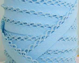 Baby Blue Bias Tape Blue Crochet on the Edge *Double Fold Bias *Quilt Binding *Sewing Supplies Trim *Blue Fabric Binding Crochet Bias Tape