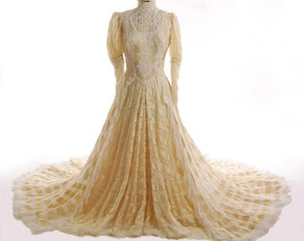 Original Victorian Wedding Gown Cream Satin Banding & White Val Lace Skirt   Fully Restored. Size 8 - Item 153, Wedding Apparel