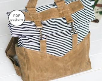 Retro Rucksack PDF Sewing Pattern | Convertible Straps | Backpack or Shoulder Bag Tote