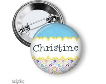 Blue pastel pinback button button badge or fridge magnet