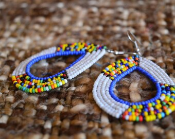 Amira Earrings(White)/Kenyan earring/beautiful earrings/Maasai earrings