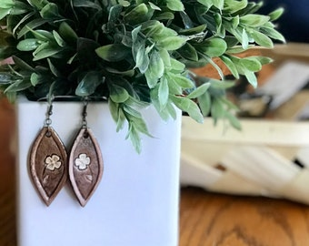 Vintage Inspired Hand Tooled Leather Earrings