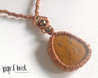 Brown macrame necklace with healing stone