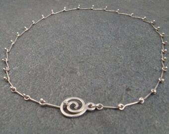 Sterling Bones-- Linked Necklace with Spiral Clasp