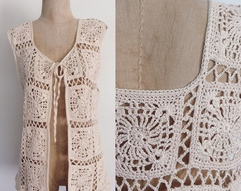 1970's Ivory Granny Squares Vest Sweater Vest Size Small Medium by Maeberry Vintage