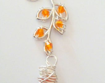 Wire Wrapped Orange Cultured Sea Glass Pendant with Faith Charm