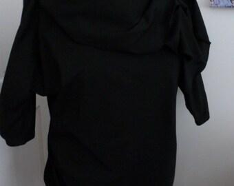 Black cotton lycra tunic top/dress with drape collar