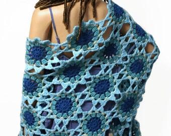 Crochet Shawl Boho Hippie Patchwork Shawl Wrap Blue Bohemian Japanese Flowers Made to Order
