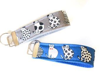 Key Fob Wristlet Key Chain - Cats (Gray or Blue)
