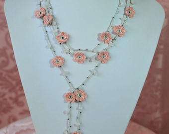 Necklace Grey pearl with pink flowers and white stones handmade gift mom girlfriend Sweetheart neck precious for elegant evening