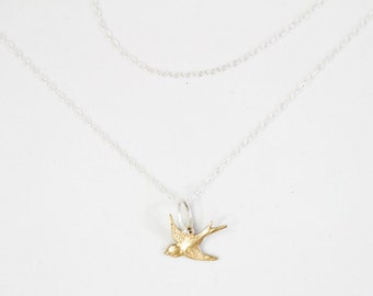 Bird Necklace / Graduation Gift / Double Chain Necklace / Layering Necklace / Gift For Her / Bird Jewelry / Sterling Silver / Gift