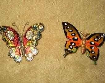 Butterfly Pins - Brooch Pair Vintage