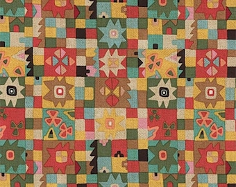 Cuadros de Azul - Tea Dye - Folklorico - Alexander Henry Fabrics - Fabric By the Half Yard