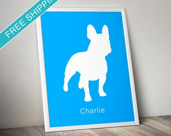 Personalized French Bulldog Silhouette Print with Custom Name (version 1V) - French Bulldog art, French Bulldog poster, dog gift