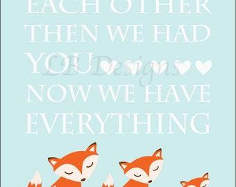 Woodland Nursery Art, Orange and Baby Blue Nursery, Fox Nursery Decor, Woodland Nursery Print - 8x10