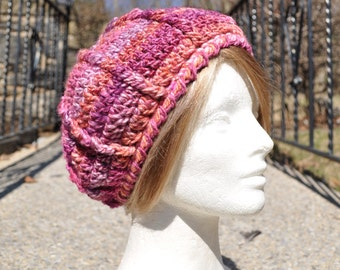 Women's Crocheted Beret - Pink Hat for Women - Winter Accessories - Crochet Hat - Women's Accessories