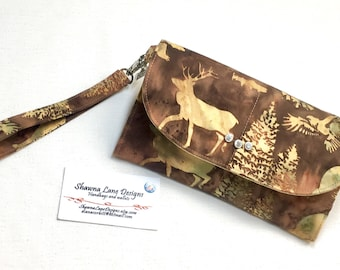 wallet with wrist strap, gift for the outdoor girl, wristlet, cell phone accessory, phone wallet, Made in Montana wallet, small purse