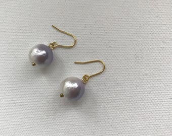 Large cotton pearl 12mm violet/white gradation color simple chic drop earrings, 14K goldfilled ear wires