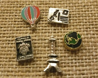 Set of 5 I Love Traveling Theme Floating Charms made for memory lockets