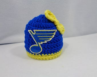 St. Louis Blue Hockey Baby Girl Cap,  MADE TO ORDER by Charlene, St. Louis Blues Inspired, Newborn Photo Prop, Gift for New Baby, Blues Fans