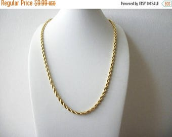 ON SALE Retro Bright Gold Tone Rope Metal Necklace 9517