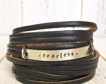 Leather Wrap Bracelet, Shredded, black 'Fearless' soft leather, double wrap, adjustable
