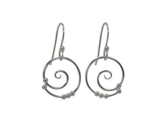 Dew Drop Tendril Spiral Earrings