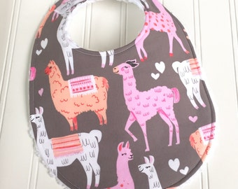 Baby Bibs for Girl  - Single Bib - Triple Layer Chenille  - Llamas, Pink, Tangerine, Gray - PINK ALPACAS